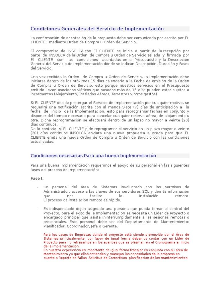 Condiciones Generales Del Servicio de Implementacion