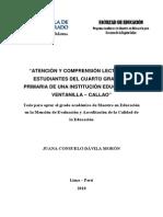 2010 Dávila Atención y Comprensión Lectora en Estudiantes de Cuarto Grado de Primaria de Una Institución Educativa en Ventanilla Callao