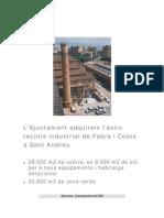 L'Ajuntament Adquireix l'antic Recinte Industrial de Fabra