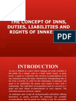 Liabilities and Rights of Innkeepers