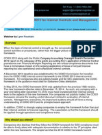 COSO Framework 2013 for Internal Controls and Management Responsibilities - By Compliance Global Inc