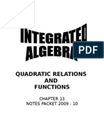 Ch 13 Quadratic Relations and Functions Student Notes 09