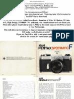 Pentax Spotmatic f User Guide