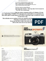 Pentax Spotmatic f User Guide