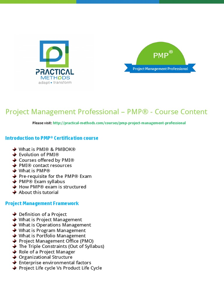Pmi pmp project management professional course content practical pmi pmp project management professional course content practical methods project management professional project management xflitez Image collections