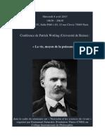 Annonce d'une conférence de Patrick Wotling le mercredi 8 avril 2015