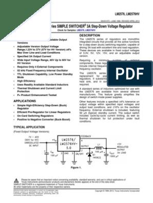 LM2576HVT-12//NOPB Convertisseur DC//DC uout 12 V 3 A TO220-5 TEXAS INSTRUMENTS