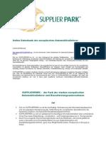 SUPPLIERPARK - Technische Datenbank für europäische Automobil-Zulieferer