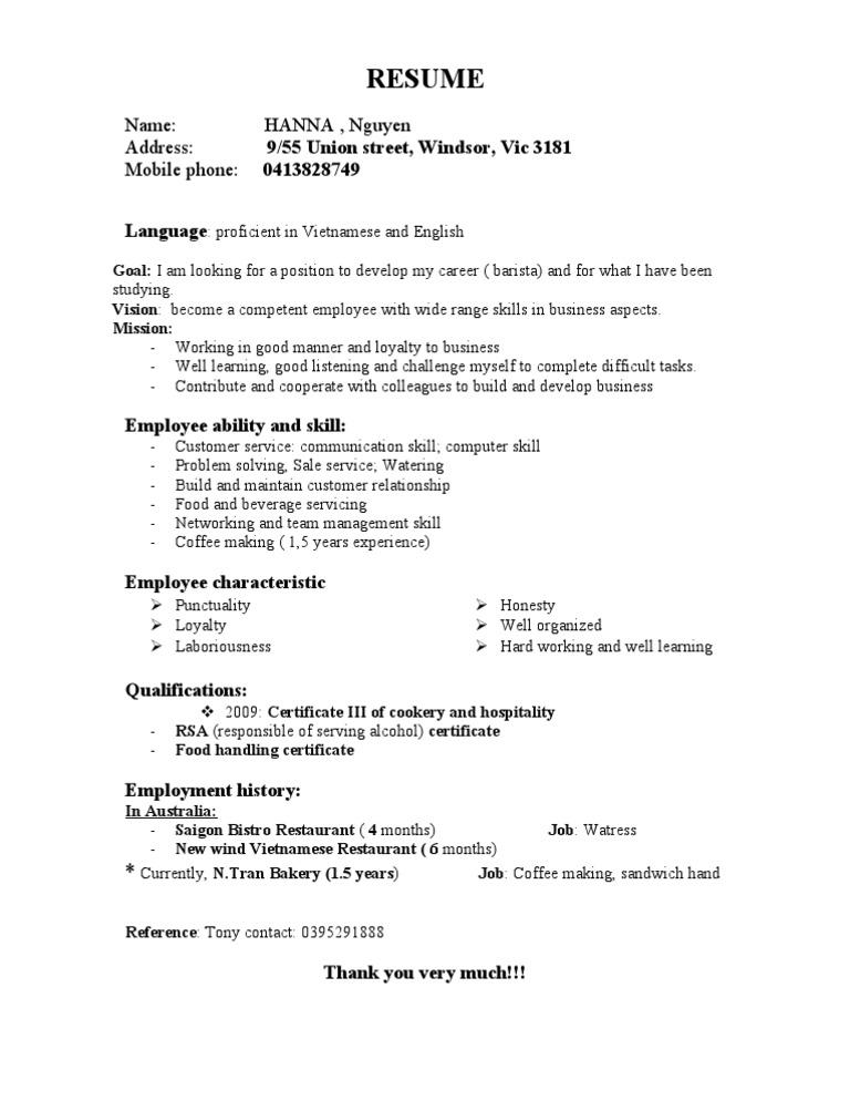 Exellent Coffee Maker Resume
