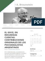 El Goce, En Resumidas Cuentas_ Contribuciones Originales de Los Psicoanalistas Argentinos _ Dr. Néstor A