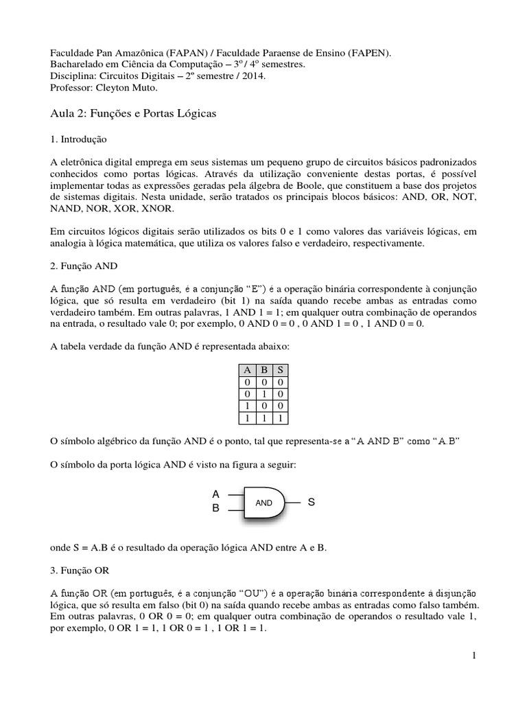 Circuito Xnor : Aula 2 funções e portas lógicas