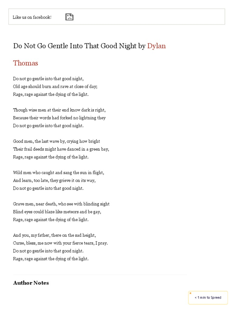 Do Not Go Gentle Into That Good Night By Dylan Thomas Famous Poems