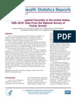 Infertility - National Health Statistics Report Aug 14 2013 - Nhsr067