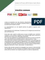 Elections départementales 2015 - Seine-Saint-Denis Déclaration Gauche rassemblée