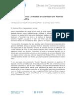 Comunicado de la Comisión de Sanidad del Partido Popular de Melilla.