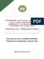 Allocution du Président de la République Ali Bongo Ondimba lors du lancement opérationnel du programme Graine.
