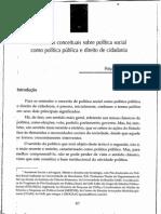 Discussões Conceituais Sobre Política Social Como Política Pública e Direitos de Cidadania