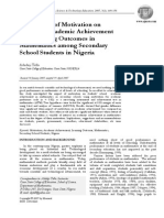 The Impact of Motivation on  Student's Academic Achievement and Learning Outcomes in Mathematics among Secondary School Students in Nigeria
