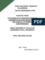 Plan de Tesis de Concreto de Alta Resistencia