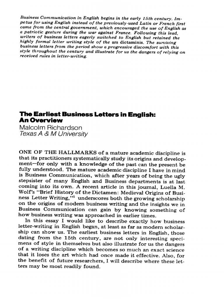 Business Letters Its Origin Oxford University Press English