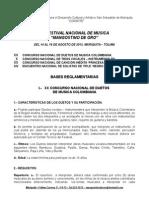 Bases Convocatoria XX Festival Nacional de  Música Mangostino de Oro 2015