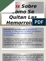 Tips Como Se Quitan Las Hemorroides