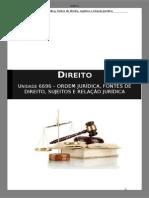 Índice Manual DIR 6696 - Ordem Jurídica, Fontes de Direito, Sujeitos e Relação Jurídica