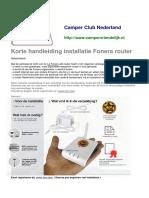 Korte handleiding installatie Fonera router