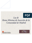 Ley 15.2001 Renta Mínima de Inserción en la Comunidad de Madrid