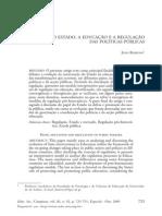 BARROSO-O Estado, A Educacao e a Regulacao Das Politicas Publicas