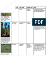 science - sequoia national park - ecosystem table