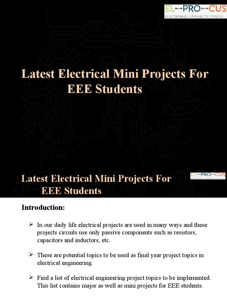 Latest Electrical Mini Projects For Eee Students Power Inverter Electronics Engineering Final