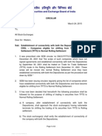 Establishment of connectivity with both the Depositories NSDL and CDSL – Companies eligible for shifting from Trade for Trade Settlement (TFTS) to Normal Rolling Settlement