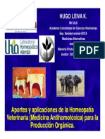 Aportes y Aplicaciones de La Homeopatía Veterinaria (Medicina Antihomotóxica) Para La Producción Orgánica