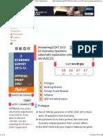 Answerkey of UPSC CSAT-2013 Economy Section With Explainations