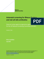 Rhesus D Screening and Red Cell Allo-Antibodies