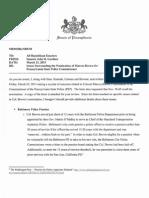 State Sen. John Gordner's memo on Acting PSP Commissioner Marcus Brown