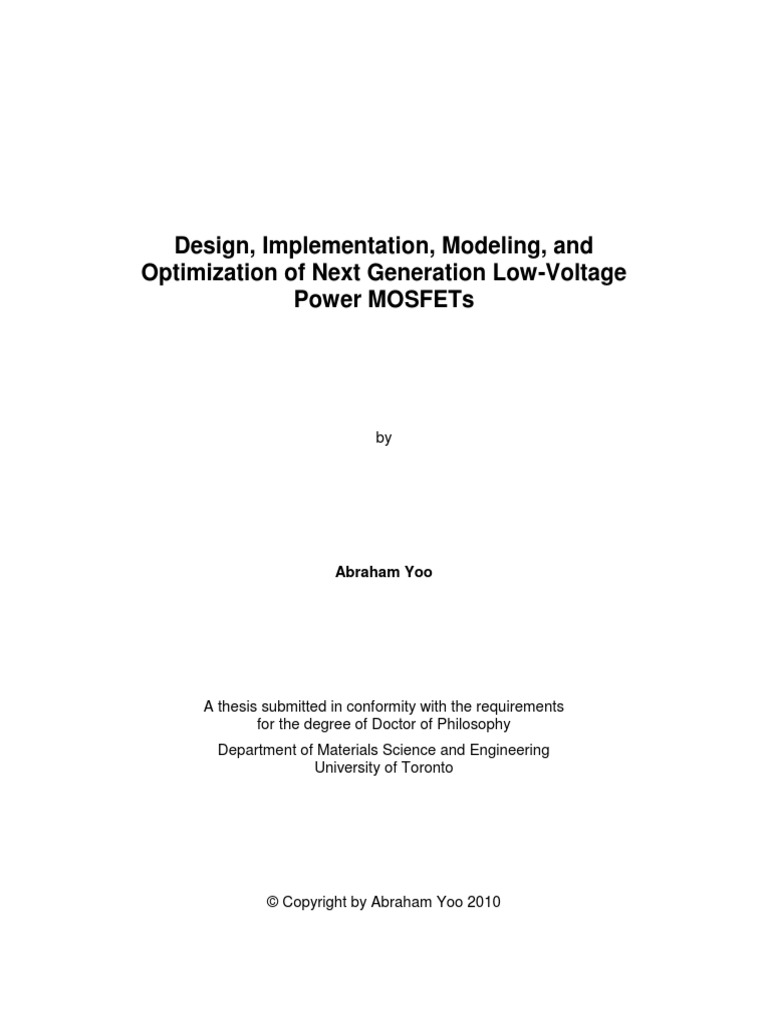 Thesis on designing, modelling mosfets   Mosfet   Field Effect