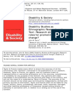 Disability Studies as Ethnographic Research Ant Text