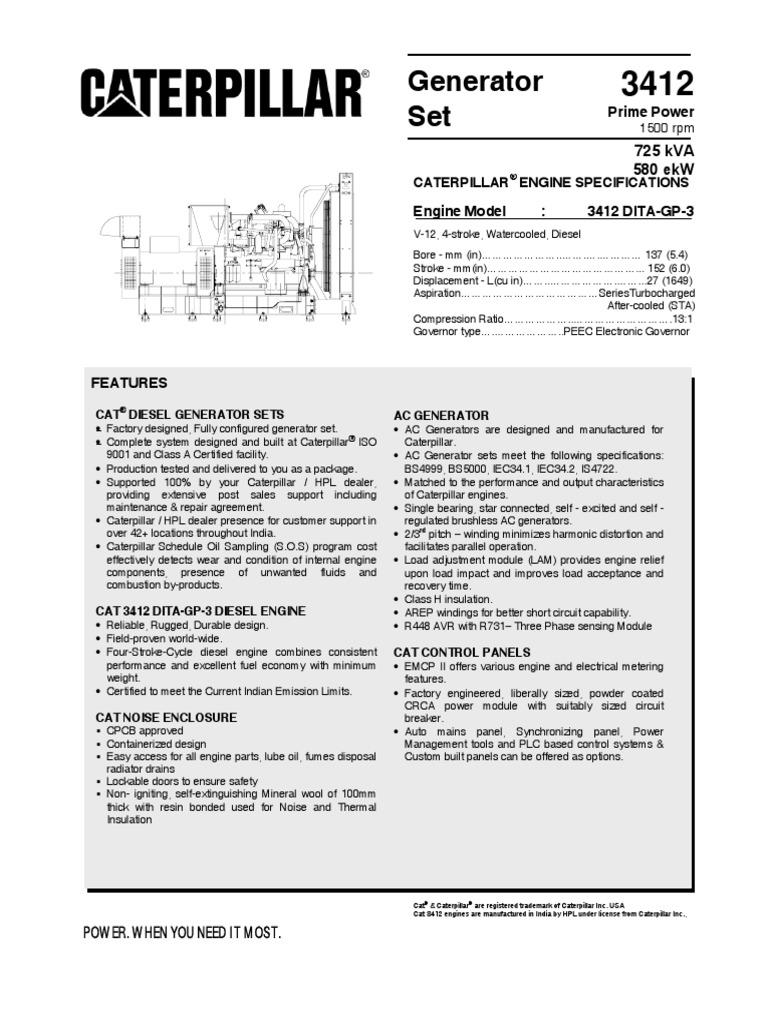 Generator 3412 Set Prime Power Caterpillar Engine | Diesel Engine |  Mechanical Fan