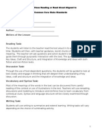 developing a close reading or read aloud for ccss worksheet for teachers
