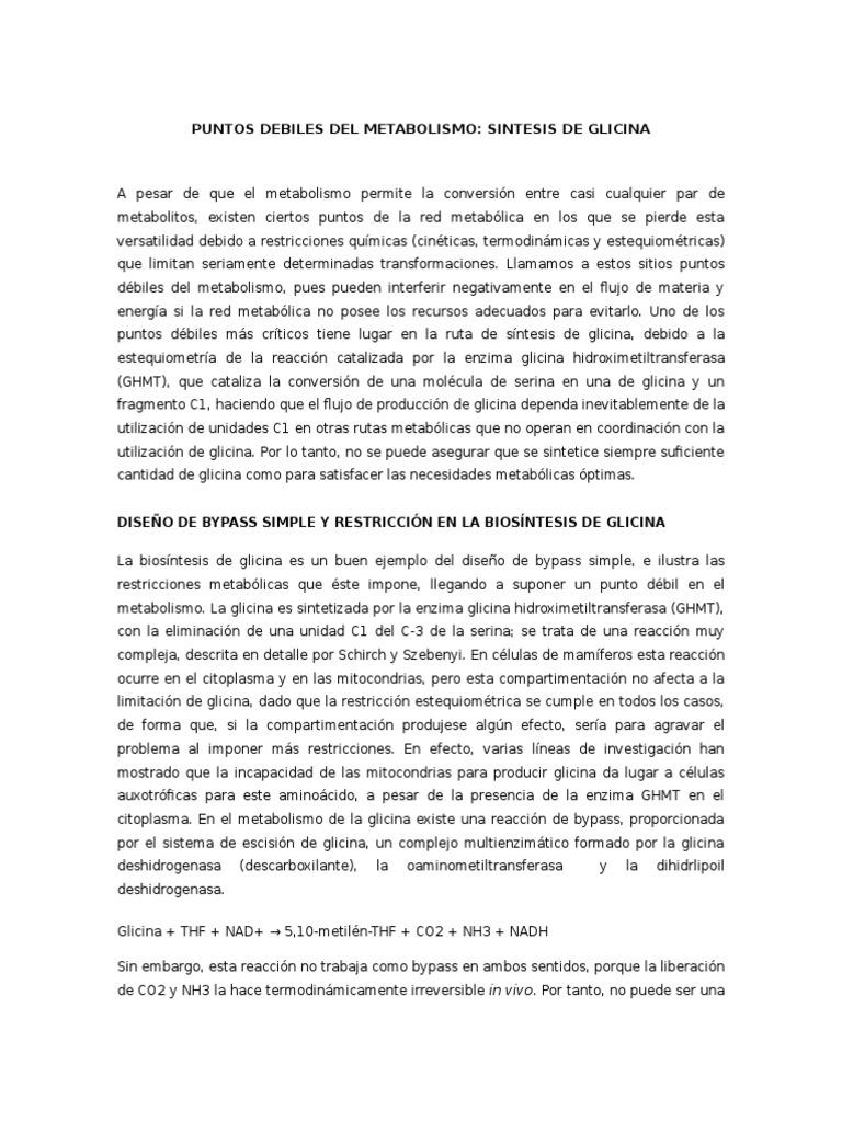 Puntos Debiles Del Metabolismo Sintesis de Glicina..