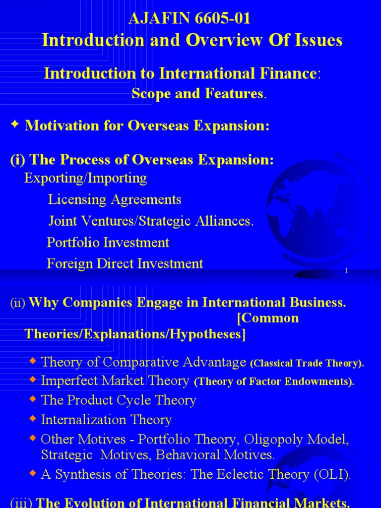 Introduction To International Finance Scope And Features Capital Asset Pricing Model Financial Markets