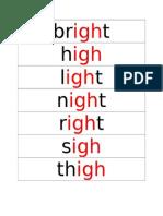 Word Card Igh and Oa