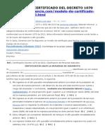Modelo de Certificado Del Decreto 1070