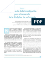 Importancia de La Investigacion Para El Desarrollo de La Disciplina de Enfermeria