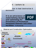 Lecture 1a -Introduction to Road Construction & Maintenance