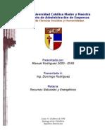Recursos Naturales y Energetico (Ciclo de Agua, Carbono y Nitrogeno)
