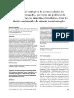 Análise das restrições de acesso a dados de espécies ameaçadas, previstas em políticas de coleções biológicas científicas brasileiras, à luz do Direito Ambiental e da Ciência da Informação