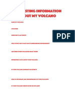 Interesting Information About My Volcano